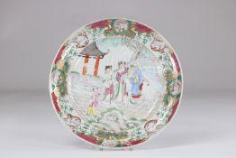 China 18th famille rose porcelain plate (crack)