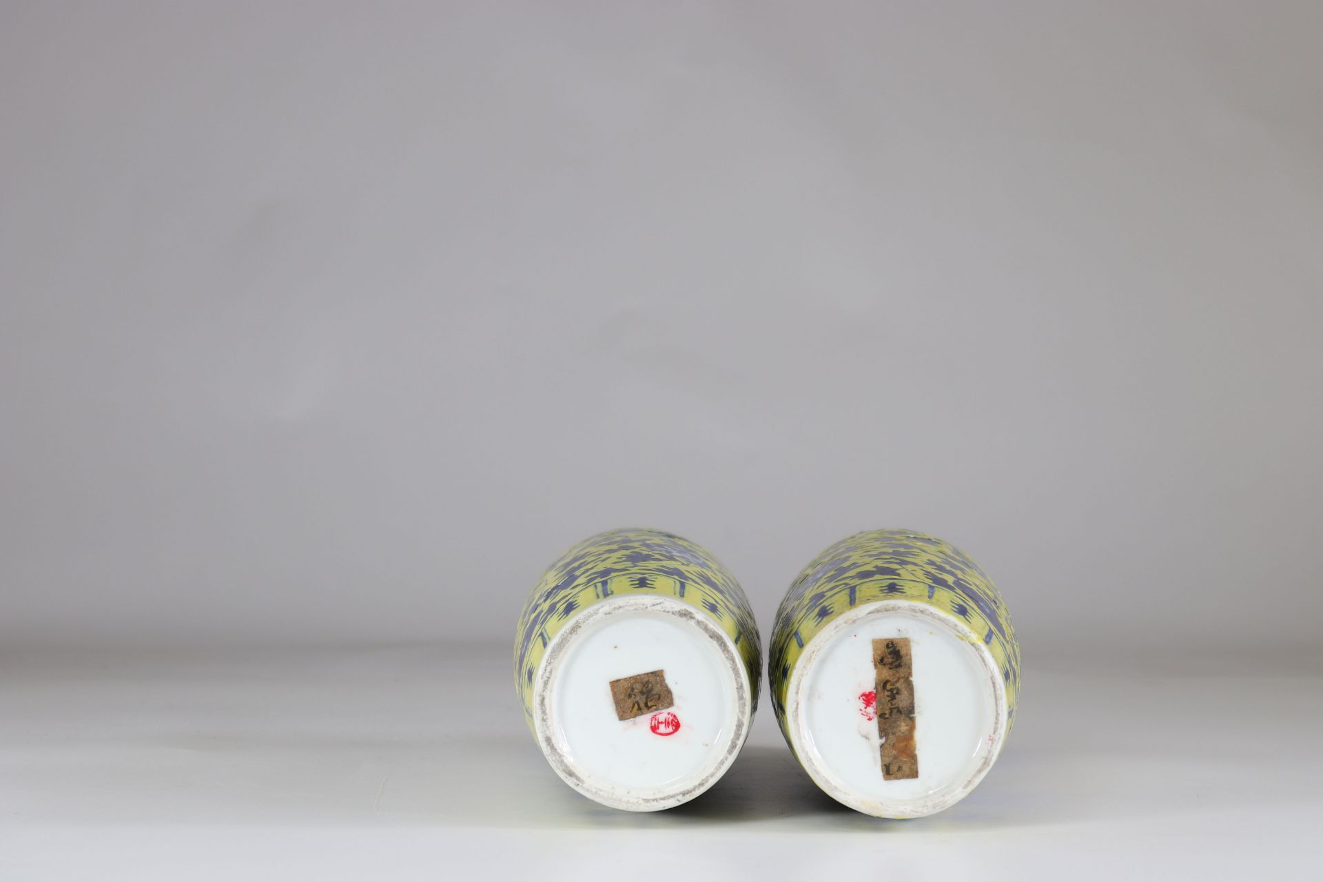 Asia pair of porcelain vases on a yellow background China? - Image 2 of 2