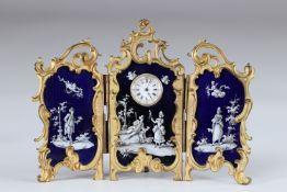 """Enamel triptych desk clock """"gallant scene Louis XV"""""""