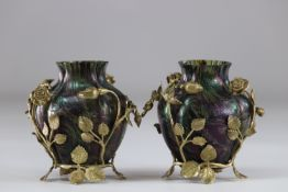 Pair of Art Nouveau vases in the spirit of Loetz decorated with bronze roses