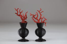 Curiosity pair of vases decorated with red coral 19th