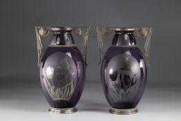 Pair Of 1930 Art Deco Vases Signed D'Argyl