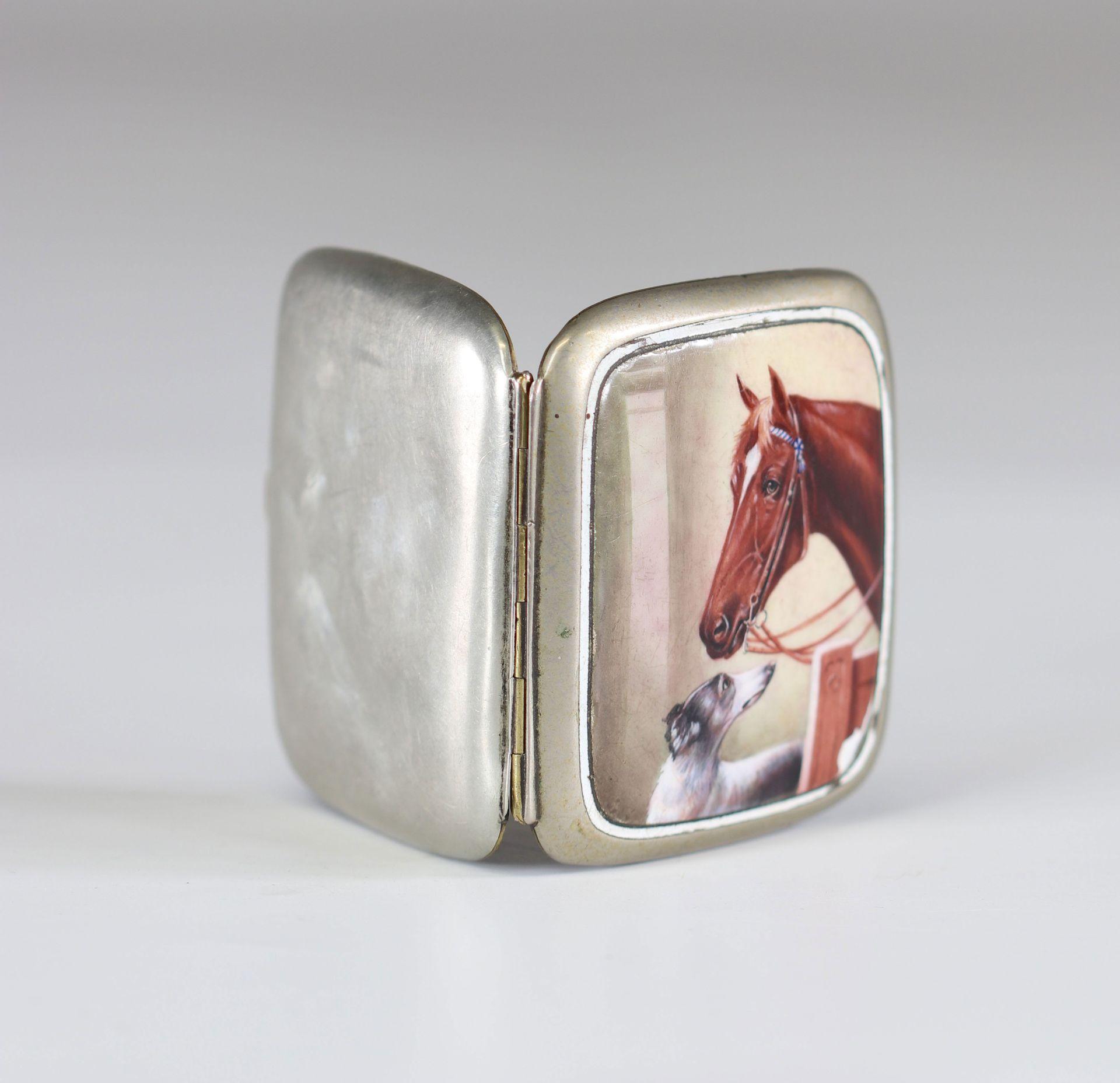 """enamel box """"horse and dog"""" circa 1900 - Image 2 of 2"""
