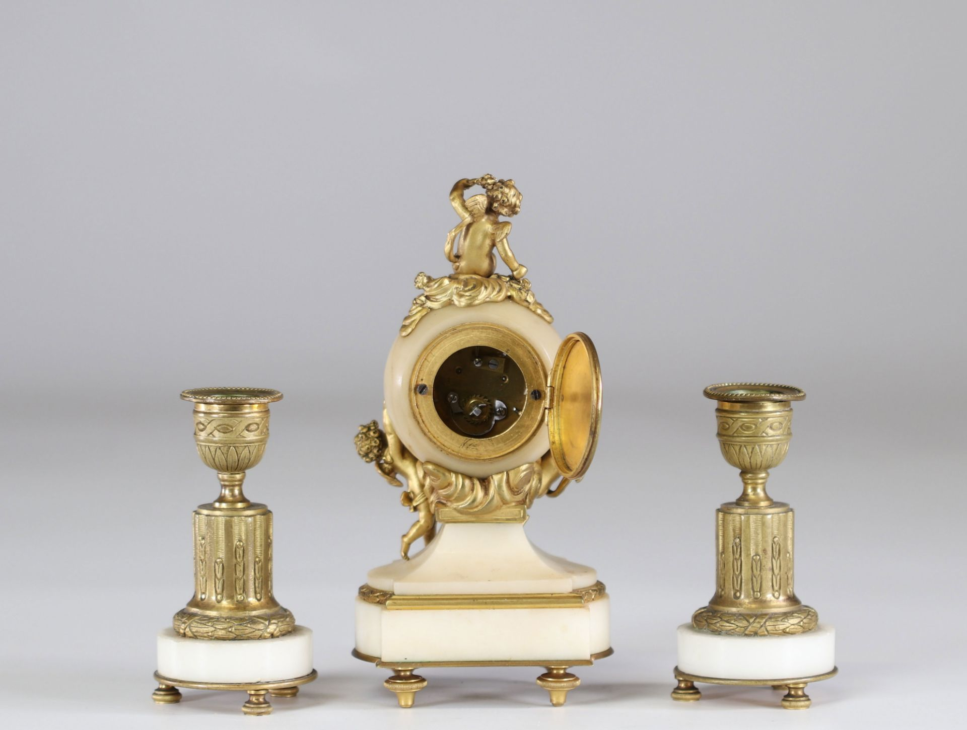 Louis XV style bronze and marble desk garniture and candlesticks - Image 2 of 2