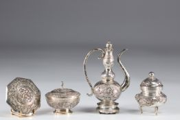 China set of silver objects teapot and pots