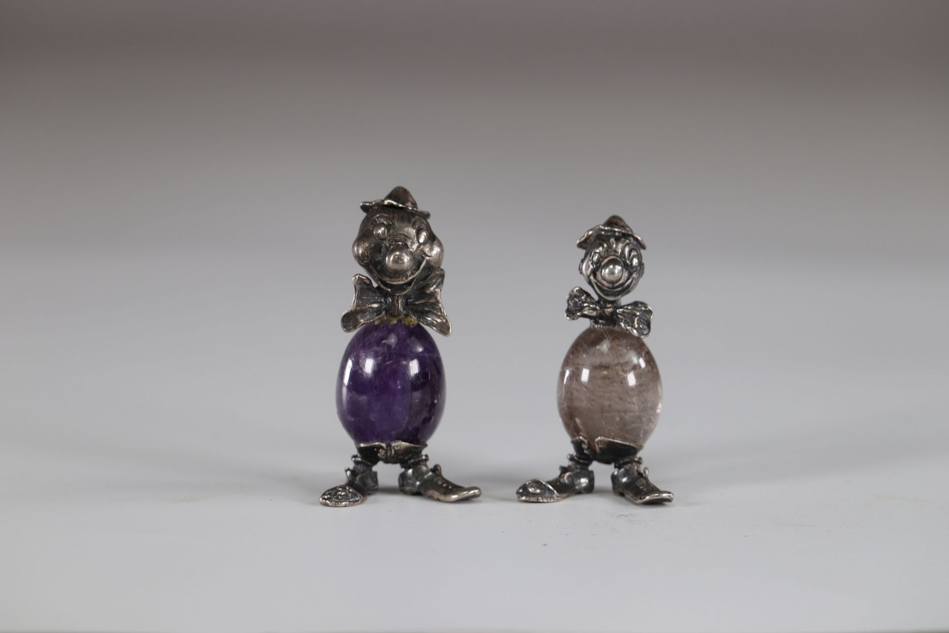 Two Clowns in silver and stone