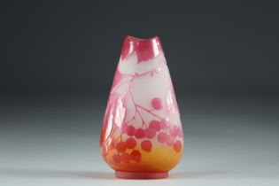 Emile Galle vase cleared with acid decoration of fruits