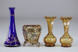 Lot of vases and box in enamelled glass 1900