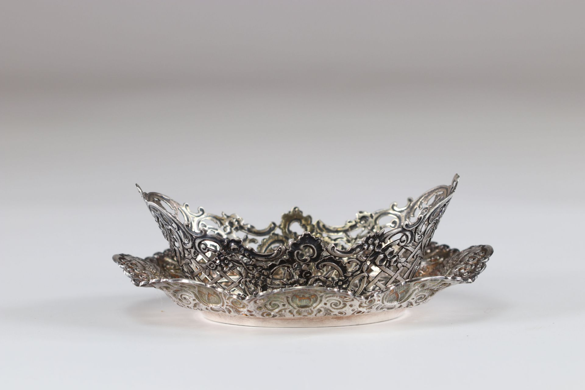 Louis XV style silver cup and dish
