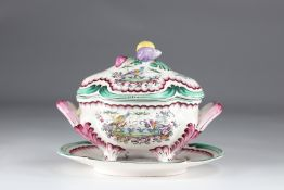 Aprey vegetable covered in earthenware with polychrome decoration, floral decoration and birds