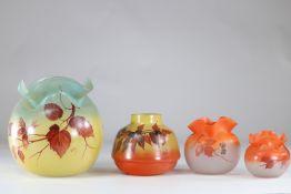 Legras set of 4 vases with floral decoration