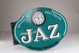 "Double-sided enamel sign Jaz ""precision alarm clock"""