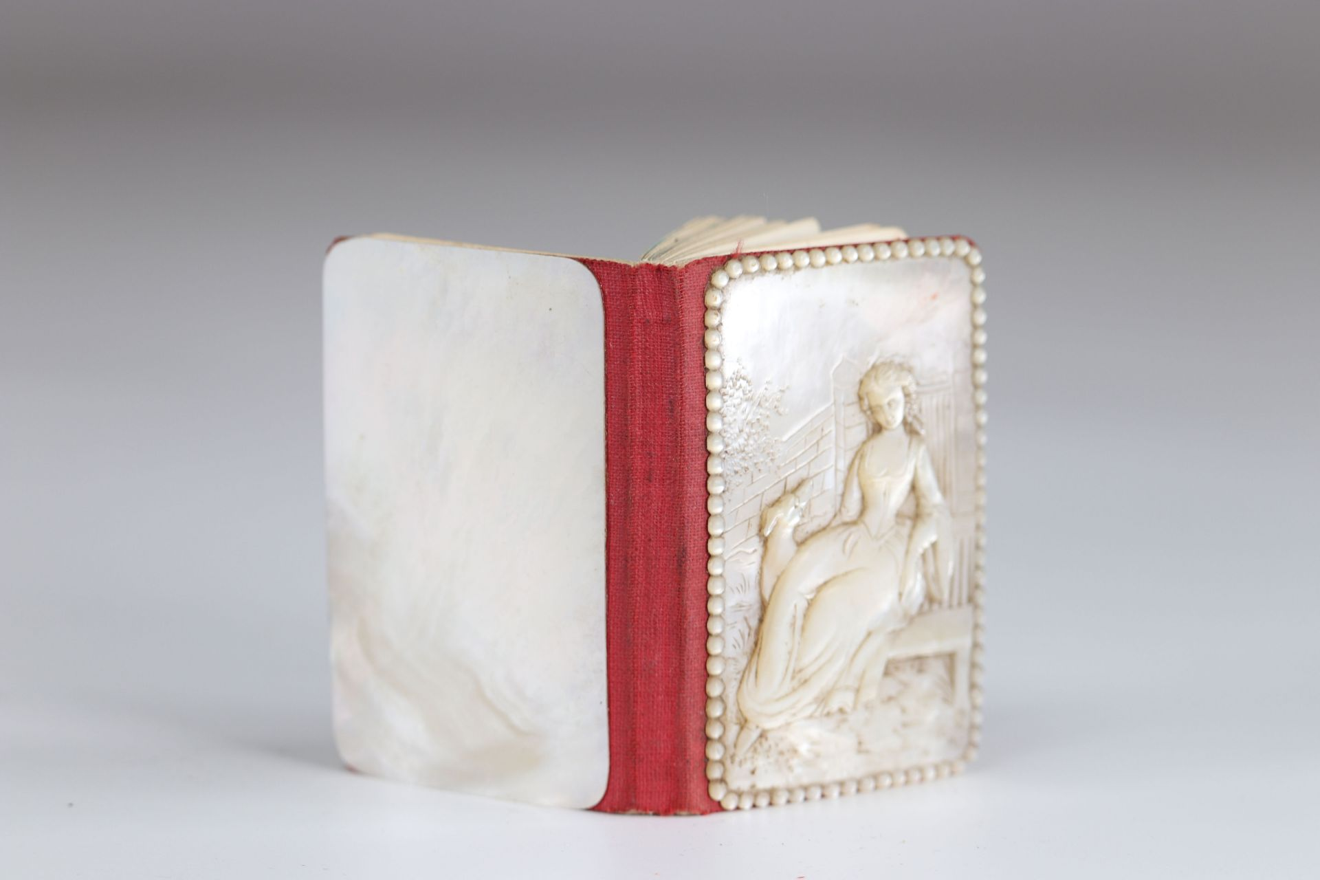Carved mother-of-pearl ball book of a young woman with a greyhound - Image 2 of 3