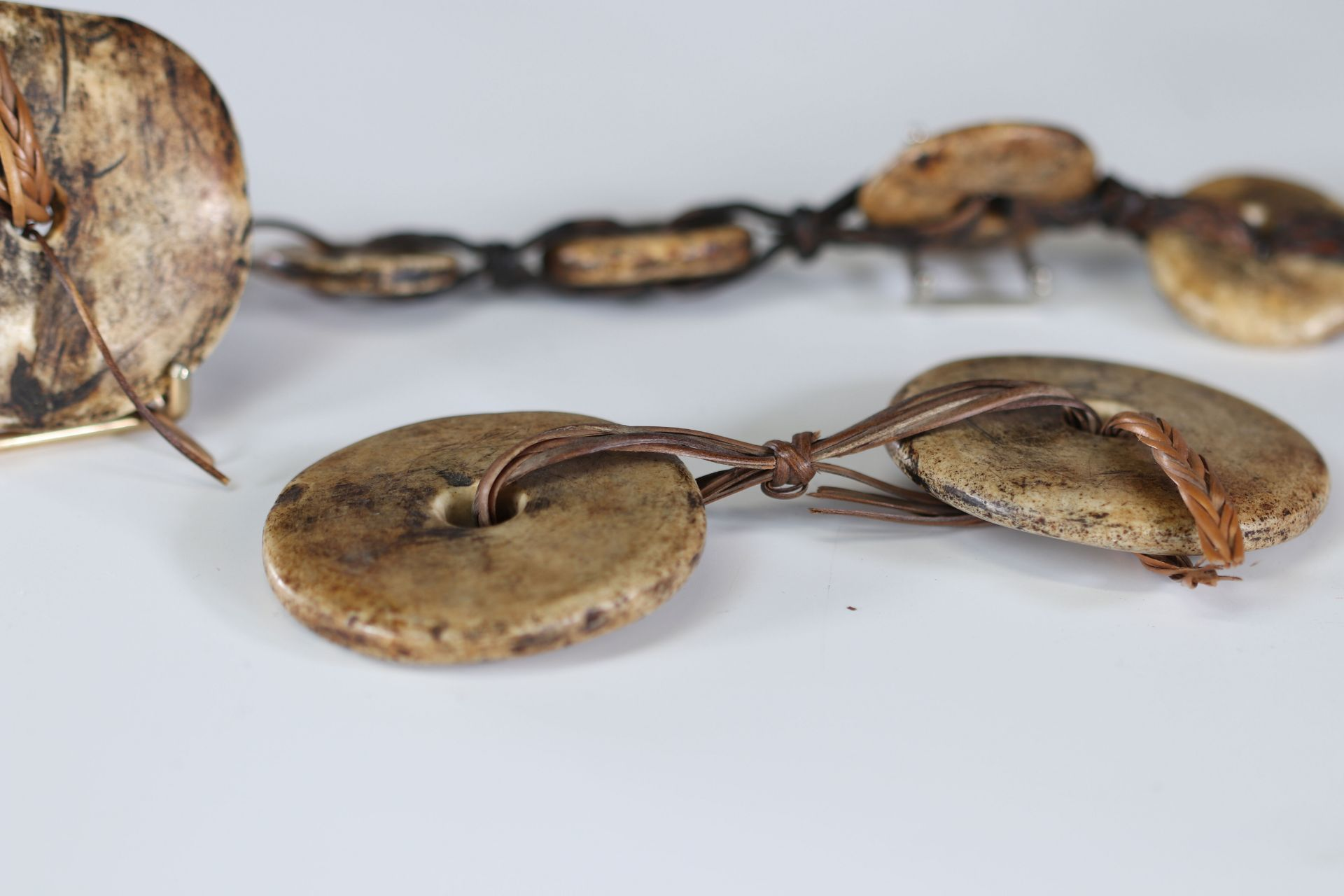 Oceania 19th century stone coin jewelry - Image 3 of 3