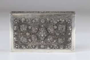 North China Thailand finely chiseled silver box early 20th century