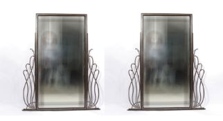 Set of large Art Deco hammered iron mirrors