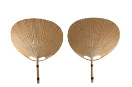 Ingo Maurer (born in 1932) Uchiwa III model Pair of bamboo and rice paper wall lights Design Edition