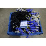 Approx. 290x 0.9m PowerCON cables in 600mm x 400mm plastic tote bin used for P2.6 LED display. (