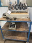 Selection of BT40 collet chucks & precision collets, including stand