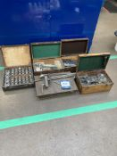 Boxed set packing gauges, surface plate, assorted gauges & cases