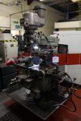 "Bridgeport Series 1 2HP turret head milling machine, Serial No. 468170589Y, table size: 42"" x 9"""