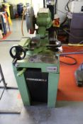 Pedrazzoli Brown 250 pedestal mounted manual pull down mitre saw, bade size: 200mm x 2mm x 32mm,