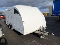 Brian James Trailers covered race car transporter 4 trailer with drive up ramp with side door, 5.