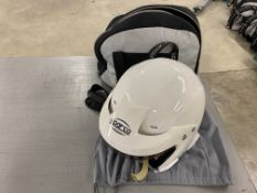 Sparco WTXJ-5i open face racing helmet with microphone and connector with cover and storage bag size