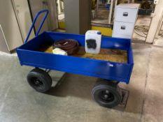 Pedestrian powered box trailer, twin axle, steel constructed body work, 1500mm x 730mm x 200mm deep.