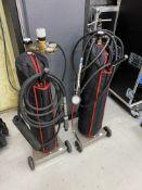 Gas bottle trolleys including 1 x BOC nitrogen regulator, AP racing air jack lance and 1 x Longace