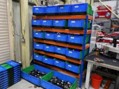 Rapid racking adjustable shelving (Qty. 9) Size 1.85M x 1.83M x 470mm and 3 x steel adjustable