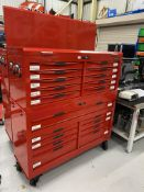 Tengtool box code CMONSTER-02, mobile 9 drawer toolbox with a 10 drawer top box toolbox, including
