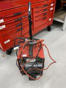 Clarke BC200N battery charger and starter on mobile trolley, 230 volts. S/No. H-13-126360.