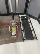 Sealey RJA1500 1.5 tonne hydraulic trolley jack and a Halfords mobile crawler board.