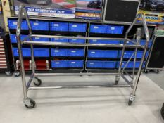 """Race day chrome plated mobile wheel storage rack, suitable for storing 14 x 18"""" x 10"""" wheels, with"""