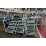 3 x Steel 4-step access ladders with hand rails
