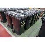 12 x Various make 240l plastic wheelie bins