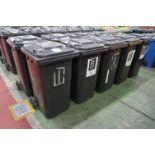 10 x Various make 240l plastic wheelie bins