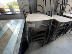 5 X METAL/WOOD STACKING CHAIRS