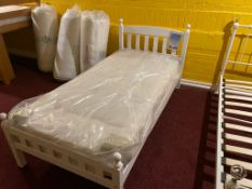 White Single Bed with Mattress RRP 260