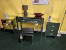 Mirrored Furniture, Stool, 2 Bedside Cabinets, Dressing Table