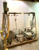 A-Frame Rack with Assorted Mixing equipment, Fluid Aire Mixer, Paddles, Vertical Mixing Container an