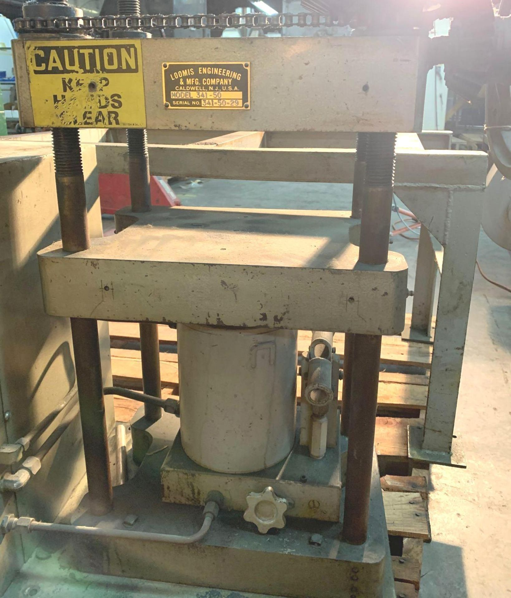 Loomis 50 Ton Hydraulic Post Press with Equipment Stand