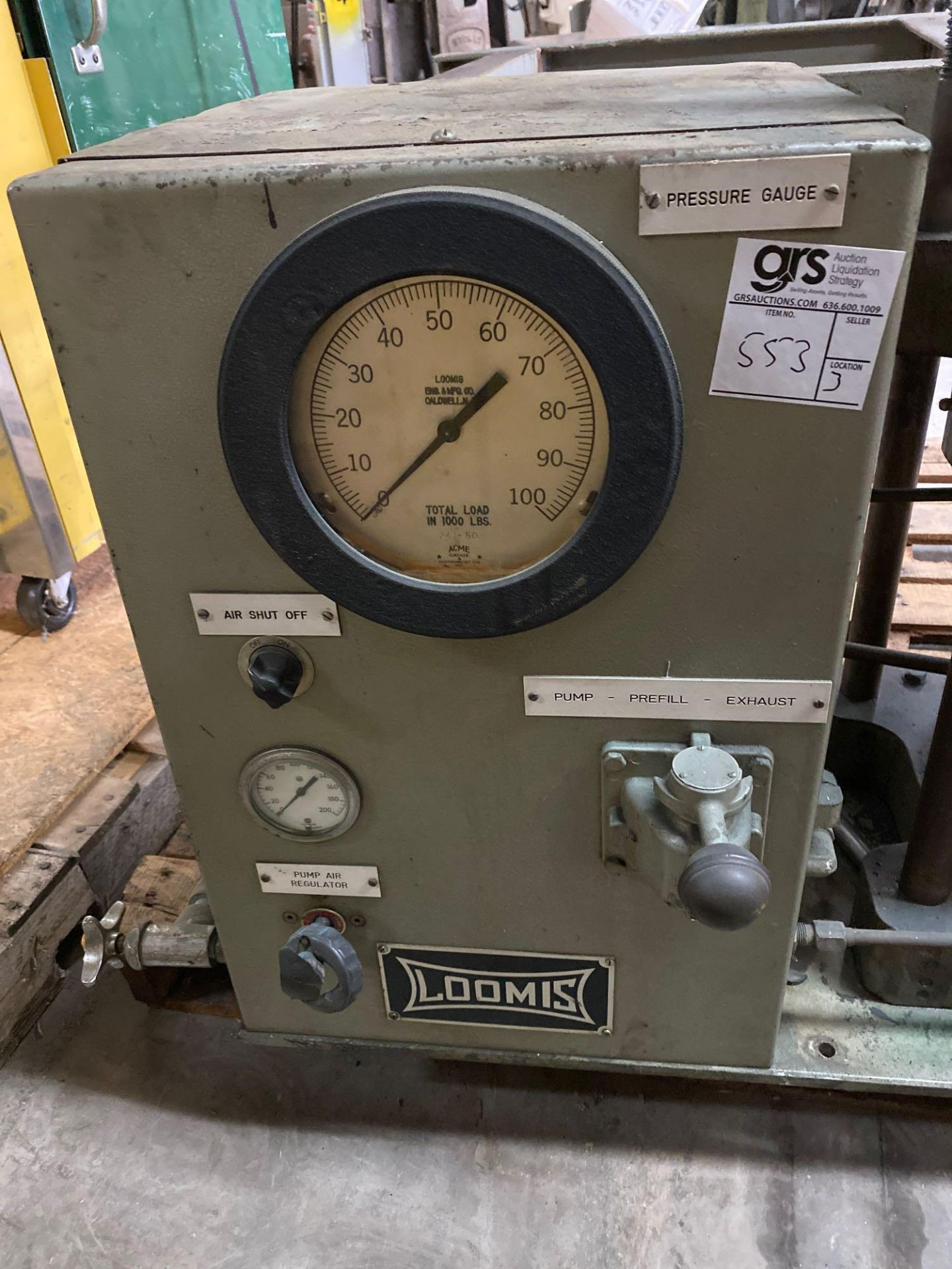Loomis 50 Ton Hydraulic Post Press with Equipment Stand - Image 9 of 9