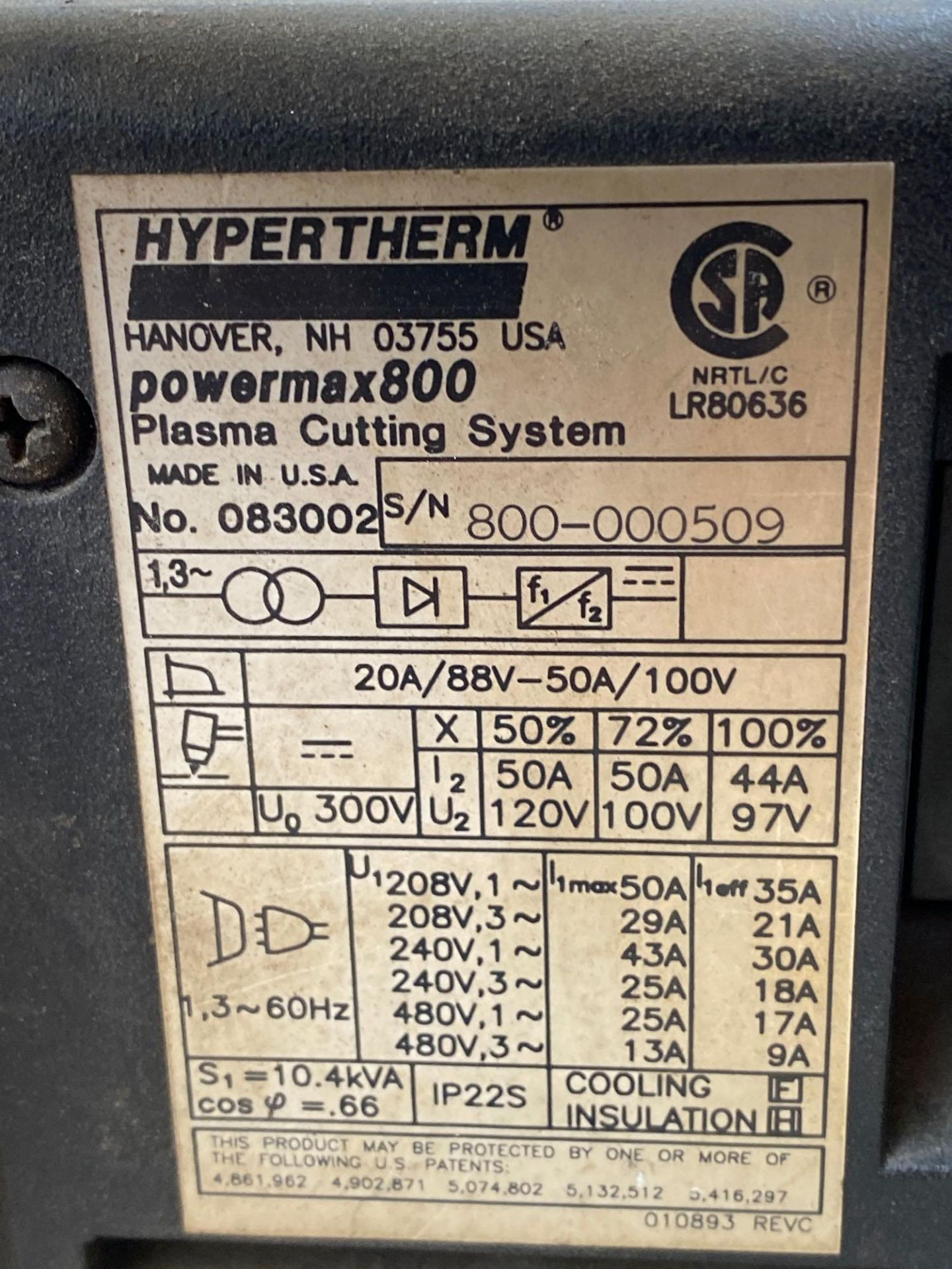 Power Max 800 Hypertherm Plasma Cutter - Image 6 of 8