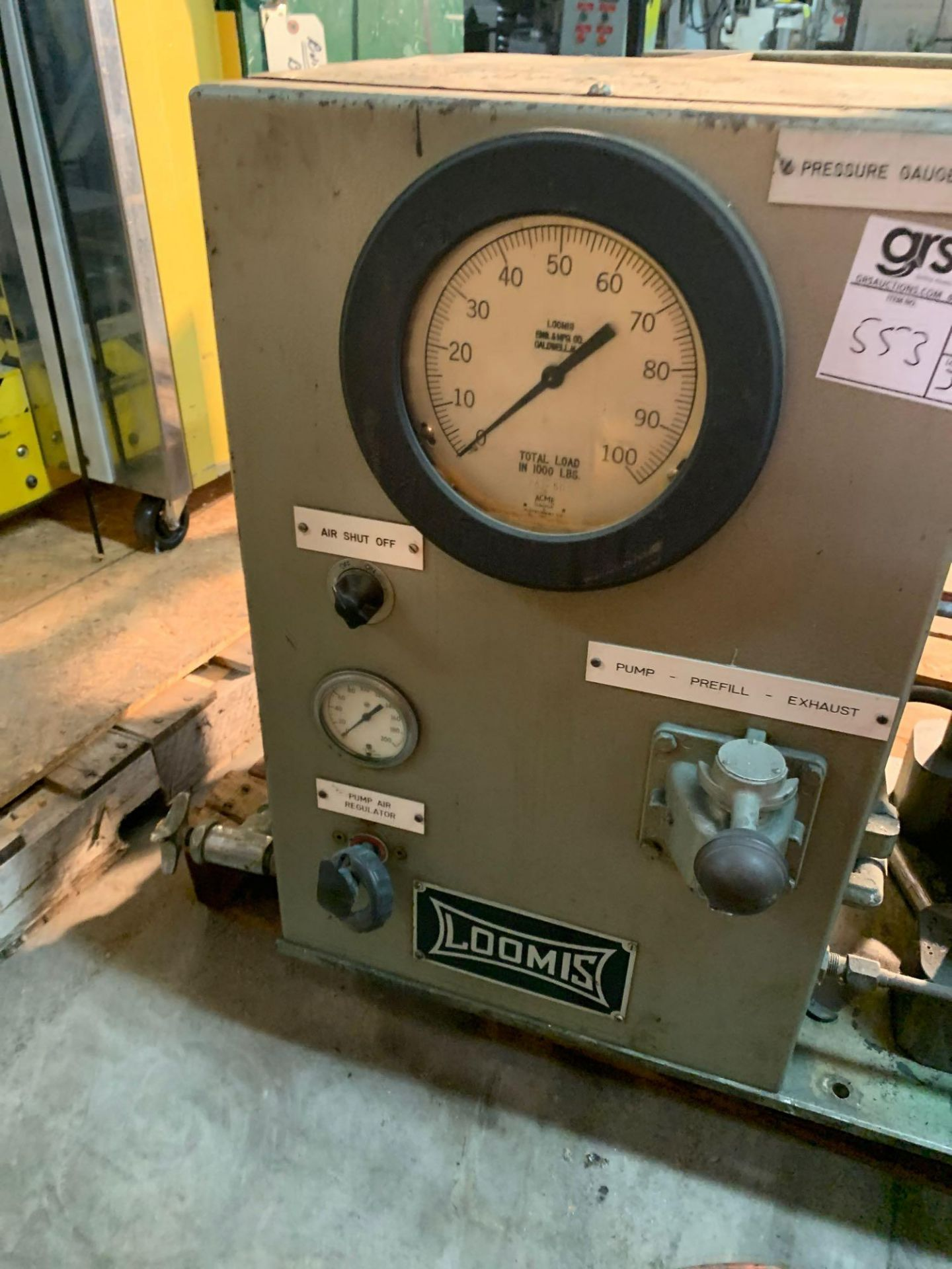 Loomis 50 Ton Hydraulic Post Press with Equipment Stand - Image 5 of 9