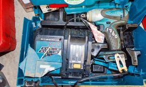 Makita 18v cordless 1/2 inch drive impact gun c/w charger ** No battery ** A708184