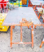 Collapsible steel work bench c/w pipe & engineers vices