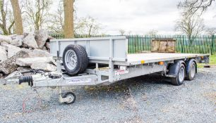 Ifor Williams LM166G 16 ft x 6 ft 6 inch flat bed tandem axle trailer S/N: 5114235 c/w head board,
