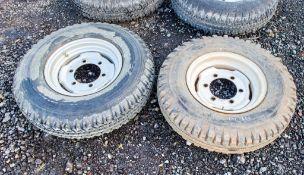 2 - 750 x 16 6 stud wheels & tyres GE